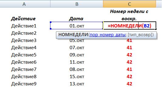 номер недели в Excel