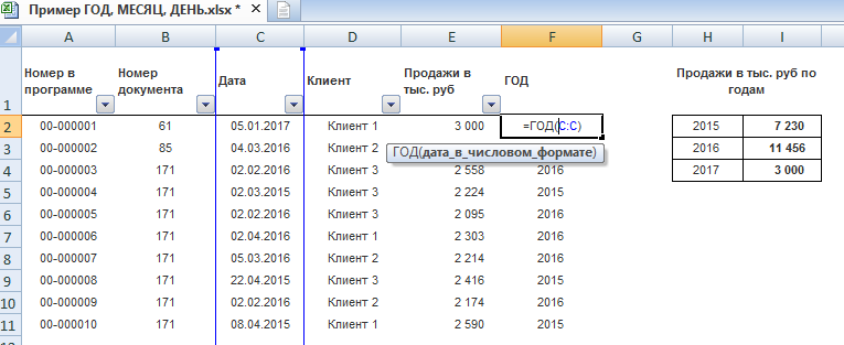 Функции ГОД, МЕСЯЦ, ДЕНЬ в Excel