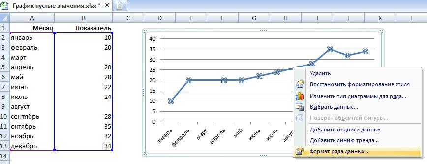 Сглаживание графика в Excel